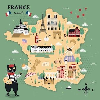 Entzückender frankreich-reisekartenentwurf mit katzen und berühmten attraktionen