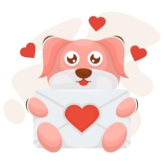 Entzückender hund mit umschlagliebes-karikaturvektor