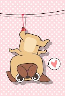 Entzückender hund wurde gehangen