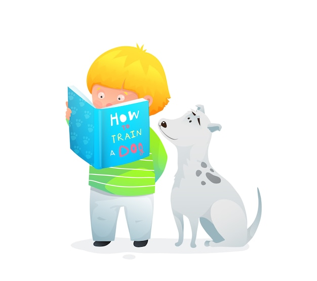 Entzückender hundeliebhaber des kleinen kindes, der amüsantes buch über hundetraining liest. illustration aquarellstil.