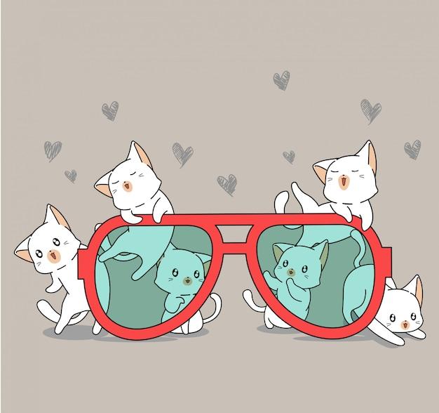 Entzückender katzencharakter mit roten gläsern