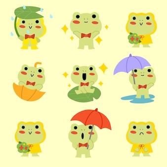 Entzückender kleiner frosch, der im regen spielt einfache charakterillustration asset-sammlung