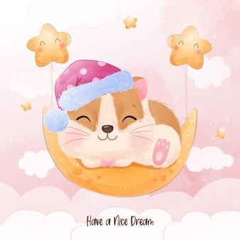 Entzückender kleiner hamster, der auf dem mond schläft