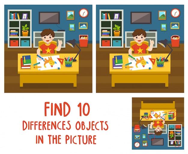 Entzückender kleiner junge, der das bild im wohnzimmer zeichnet. finde 10 verschiedene objekte im bild. lernspiel für kinder.