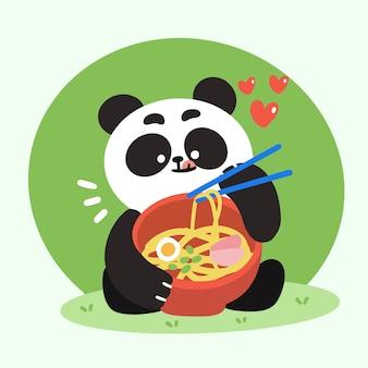 Entzückender kleiner panda, der ramen-gekritzel-illustration isst