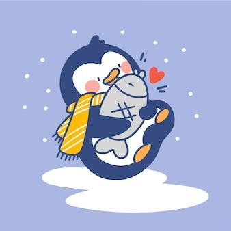 Entzückender kleiner pinguin, der mit seiner fischspielzeug-gekritzelillustration spielt
