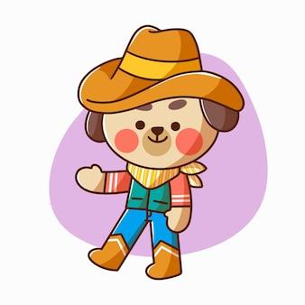 Entzückender kleiner welpe, der cowboy-charakter-gekritzel-illustrations-asset spielt