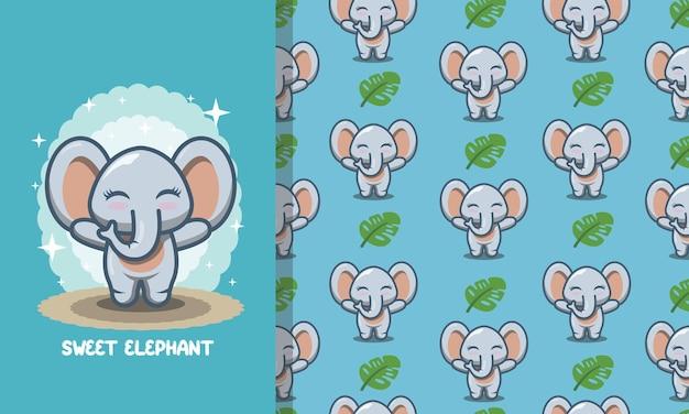 Entzückender niedlicher elefant nahtloses muster
