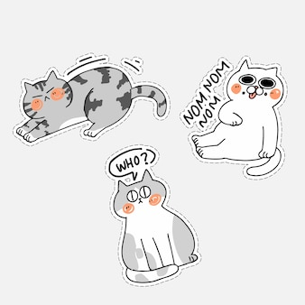 Entzückender niedlicher katzen-kätzchen-gekritzel-illustrations-aufkleber iv asset-set. am besten für messenger chat app, drucken