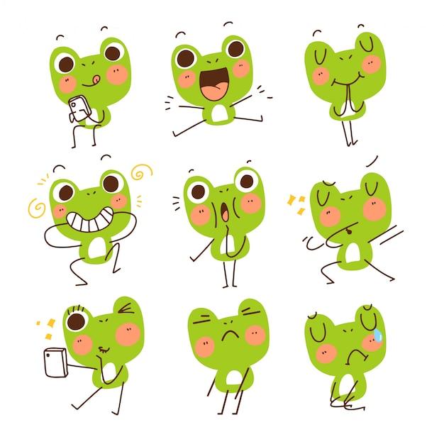 Entzückender niedlicher lustiger frosch-gesten-maskottchen-charakter kritzeln skizzen-illustrations-aufkleber
