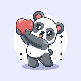 Entzückender panda gibt herzen cartoon