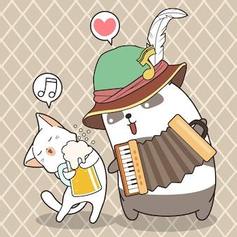 Entzückender panda spielt akkordeon mit niedlicher katze hält tasse bier