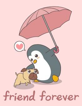 Entzückender pinguin hält regenschirm mit einem hund