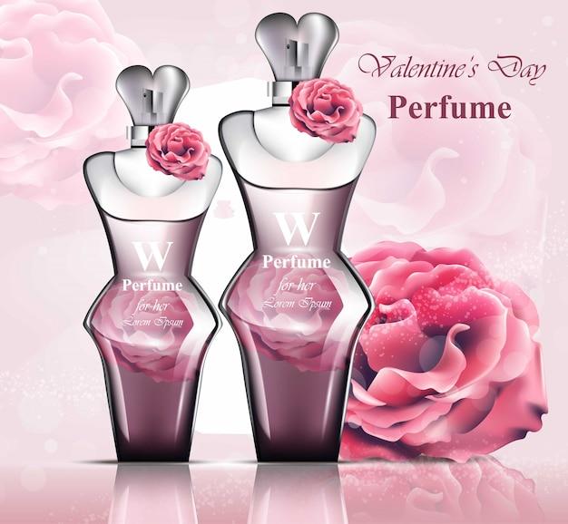 Entzückender rosenduft der frauenparfümflasche. realistische vektor produkt verpackung designs m