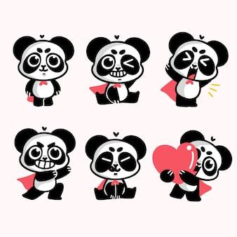 Entzückender süßer super-panda-illustrations-aufkleber-satz