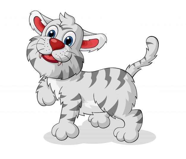 Entzückender weißer tiger-cartoon