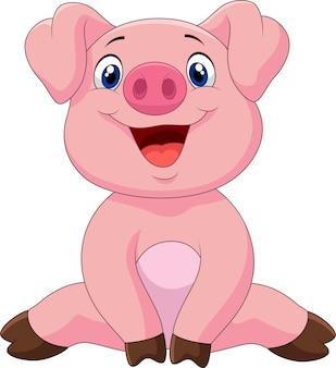 Entzückendes babyschwein der karikatur, vektorillustration