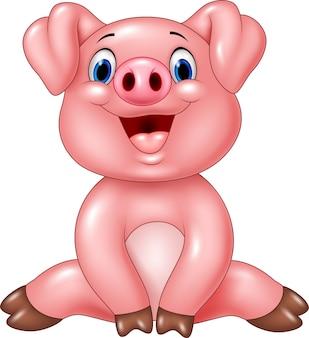 Entzückendes babyschwein der karikatur