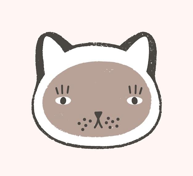 Entzückendes gesicht der katze. schöne cartoon-mündung des kätzchens mit kapuze isoliert auf weißem hintergrund. kopf des netten lustigen haustieres. moderne vektorillustration im flachen stil für kindert-shirt-druck.