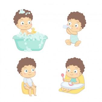 Entzückendes glückliches baby und sein tagesablauf. kümmere dich um das baby. satz babycharaktere.