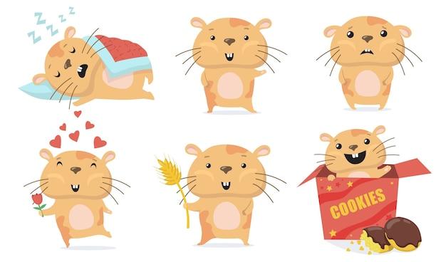 Entzückendes hamsterset. netter lustiger karikaturhamster, der schläft, hallo winkt, verliebte blume gibt, kekse in der schachtel isst. vektorillustration für tier, haustiere, nagetierkonzept
