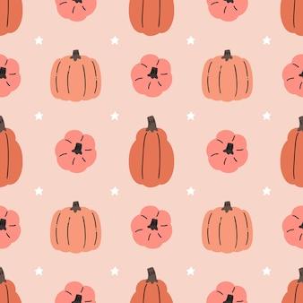 Entzückendes kawaii kürbis halloween thanksgiving nahtloses muster für saisonale stoffe und drucke.