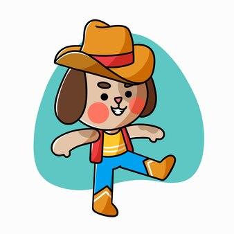 Entzückendes kleines hündchen, das cowboy-charakter-gekritzel-illustrations-asset spielt