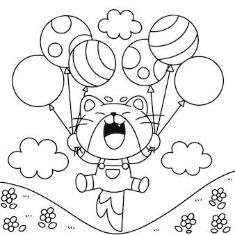 Entzückendes kleines kätzchen, das mit ballon-malbuch-seiten-illustrations-asset spielt