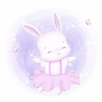 Entzückendes kleines kaninchen, das wie ballerina tanzt