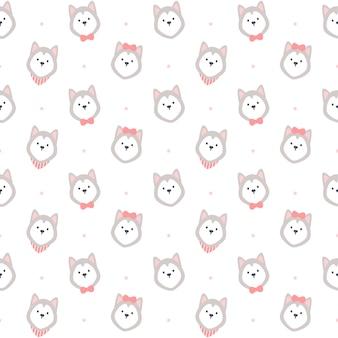 Entzückendes nahtloses wiederholungsmuster des sibirischen huskys, tapetenhintergrund, niedlicher nahtloser musterhintergrund