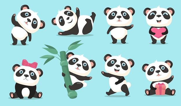 Entzückendes panda-set. nettes karikatur-chinesisches bärenbaby, das hallo winkt, herz oder geschenk hält, am bambusstamm hängt, tanzt und spaß hat. vektorillustration für tier-, natur-, wildtierkonzept