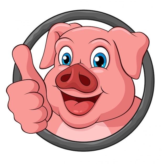 Entzückendes schwein mit dem daumen herauf karikatur im runden rahmen