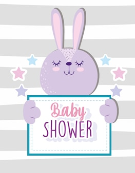 Entzückendes tier der baby-dusche niedlichen hasen, der bannervektorillustration hält