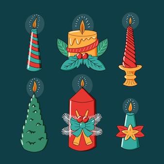 Entzünde kerzen mit niedlichen weihnachtsmotiven