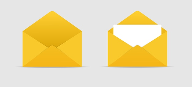 Envelope icon realistische leere weiße brief papiervorlage offen und geschlossen lager