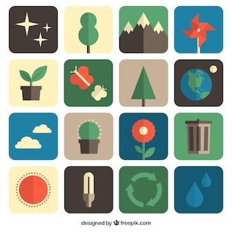Environmental icons für tag der erde
