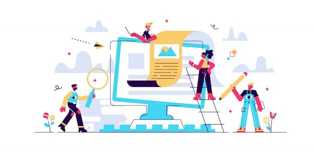 Enzyklopädiebibliothek, e-learning, medienbibliothek oder webarchiv konzept für webseite, banner, präsentation, social media. illustration technologie und literatur, wörterbuch, teamarbeit.