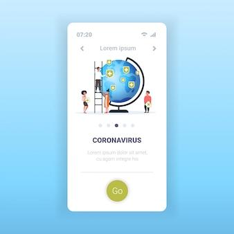 Epidemie mers-cov-grippe ausbreitung der welt menschen setzen medizinische schutznadeln von ländern mit coronavirus-infektion wuhan 2019-ncov pandemie medizinisches gesundheitsrisiko mobile app kopienraum