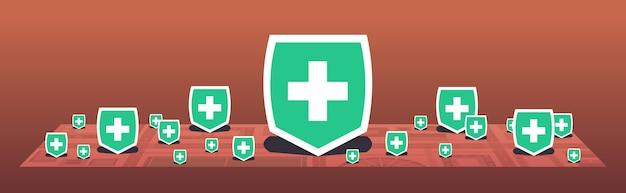 Epidemie mers-cov medical cross shield angezeigt punkte krankheit verbreitet coronavirus-infektion wuhan 2019-ncov pandemie gesundheitsrisiko stadtplan horizontal