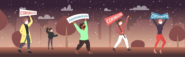 Epidemie mers-cov menschen in schutzmasken halten banner stop coronavirus-infektionspräventionskonzept wuhan 2019-ncov pandemie gesundheitsrisiko stadtbild in voller länge horizontal