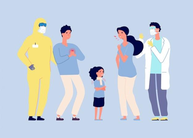 Epidemisches konzept. viruskrankheit, ärzte schützen kranke menschen. medizinisches personal in schutzanzügen.