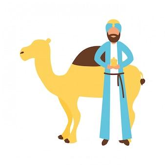 Epiphany-könig mit geschenk und kamel