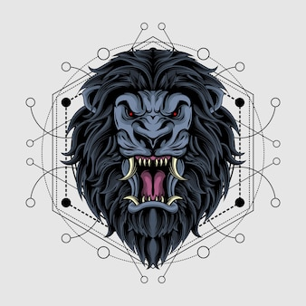 Epischer dunkler löwe mit heiliger geometrie