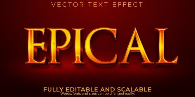 Epischer texteffekt, bearbeitbarer goldener und historischer textstil
