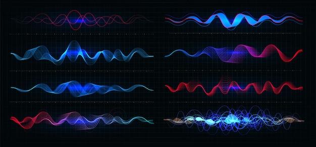 Equalizer abbildung. pulsationsfarbe wellige bewegungslinien. hochfrequenzdiagramm. grafische digitale stimme.