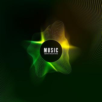 Equalizer-konzept. des musikalischen hintergrunds. audio-welle lebendiger effekt. digitales farbtonkurvenmuster. illustration