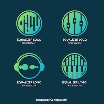 Equalizer-logo-sammlung mit farbverlauf stil