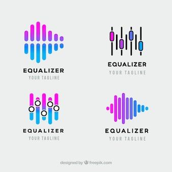 Equalizer-logo-sammlung mit flachem design