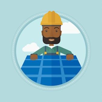 Erbauer, der sonnenkollektor installiert