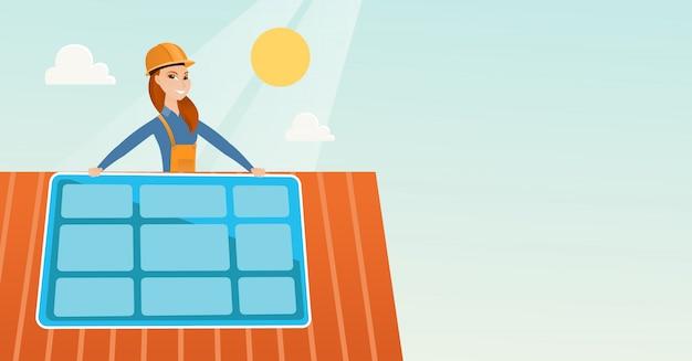 Erbauer, der sonnenkollektor installiert.